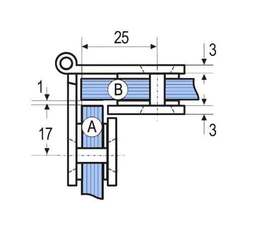 Medidas bisagra Vitrina Vidrio-Vidrio Simple