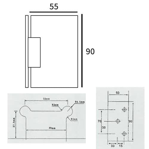 Bisagra Mampara Vidrio Mod. 204 Desplazada