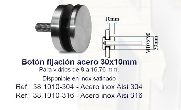 Botón de Fijación Pared-Vidrio Acero Inox 30mm.
