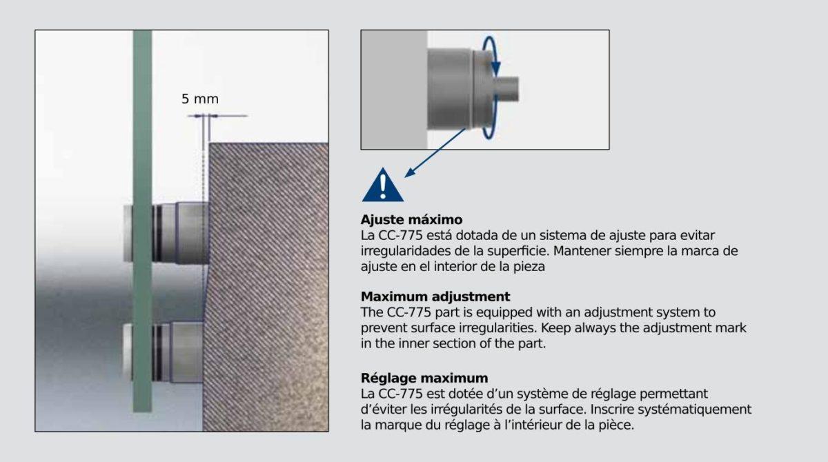 Botón de Fijación a muro con regulación