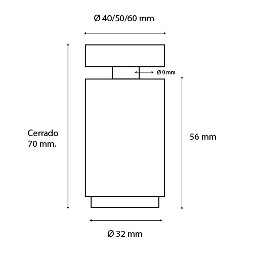 Botón fijación regulable 40mm para barandillas de vidrio.