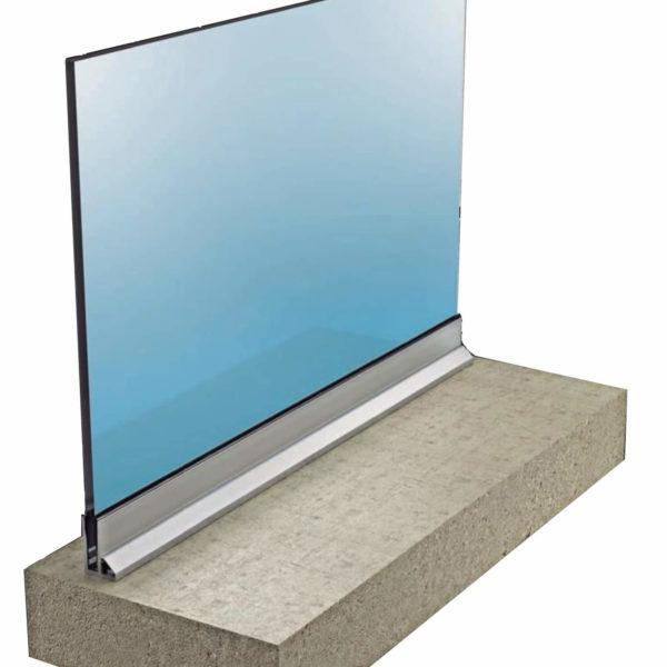 barandilla de cristal glass u a suelo con aleta