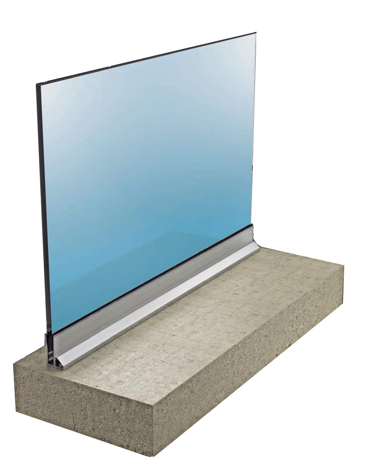 Sistema para Barandillas Glass U Suelo Con Aleta